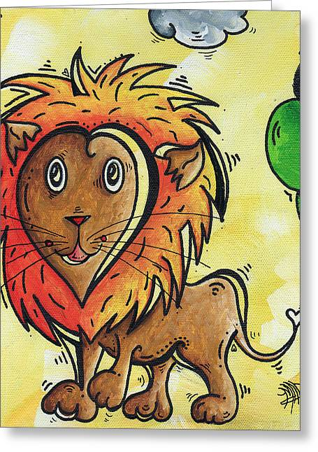 Safari Prints Greeting Cards - Childrens Whimsical Nursery Art Cutie Pie by MADART Greeting Card by Megan Duncanson