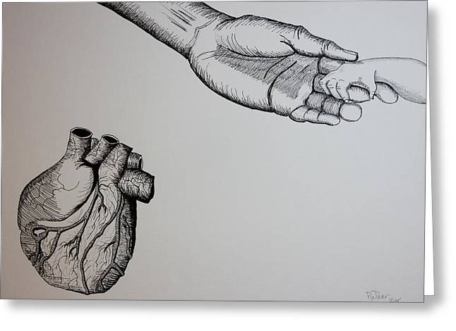 Pencil On Canvas Greeting Cards - Childs Heart Greeting Card by Ru Tover