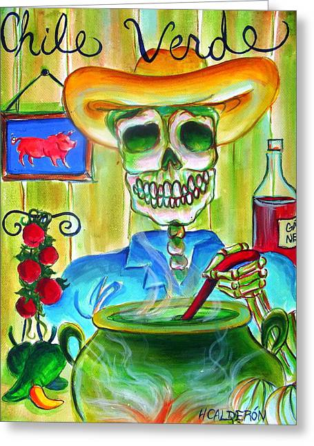 Chile Greeting Cards - Chile Verde Greeting Card by Heather Calderon