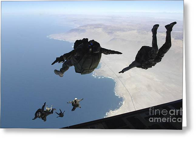 Chilean And U.s. Pararescuemen Jump Greeting Card by Stocktrek Images