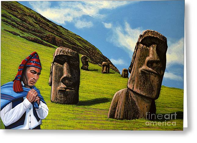 Green Hat Art Greeting Cards - Chile Easter Island Greeting Card by Paul Meijering