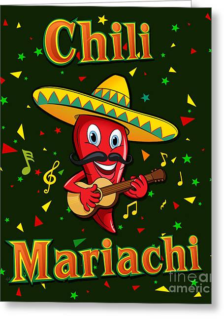 Chili Mariachi Greeting Card by Bedros Awak