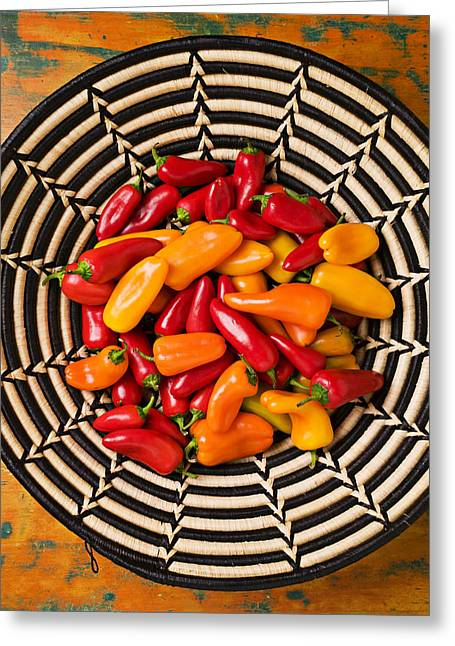 Pungent Greeting Cards - Chili peppers in basket  Greeting Card by Garry Gay