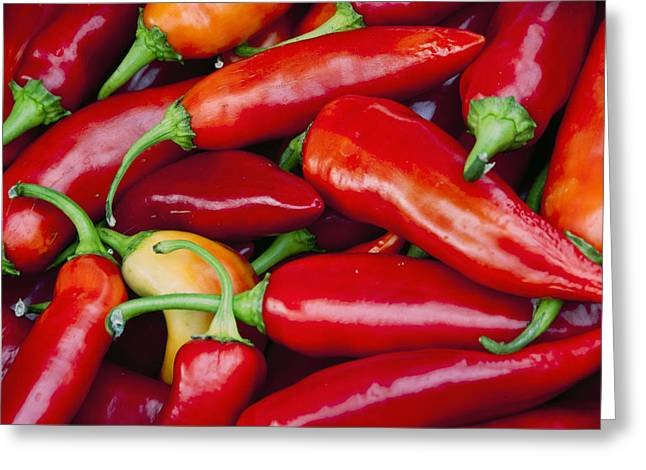 Mexican Food Greeting Cards - Chili Peppers Greeting Card by Marion McCristall