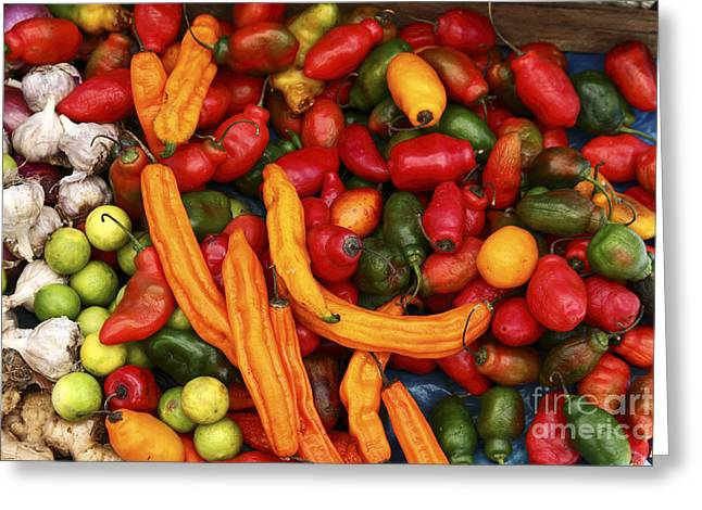 Chilies Greeting Cards - Chili Stall in Peruvian Market Greeting Card by James Brunker