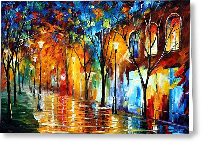 Popular Art Greeting Cards - Chill Energy - PALETTE KNIFE Oil Painting On Canvas By Leonid Afremov Greeting Card by Leonid Afremov