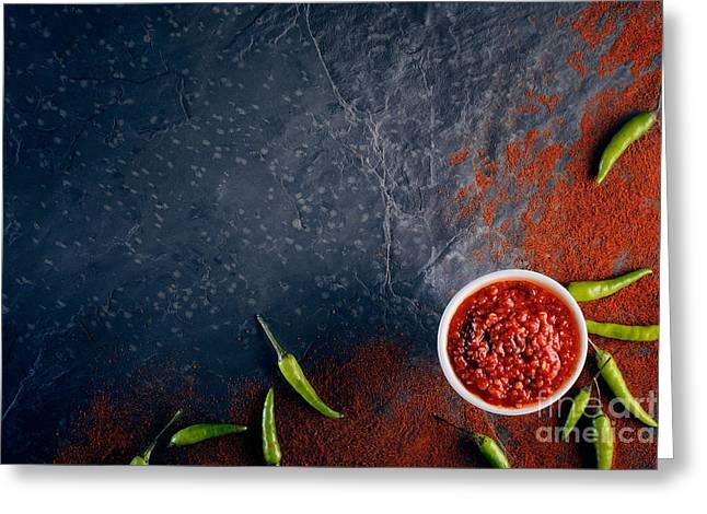 Powder Greeting Cards - Chilli and garlic relish on dark slate Greeting Card by Johan Swanepoel