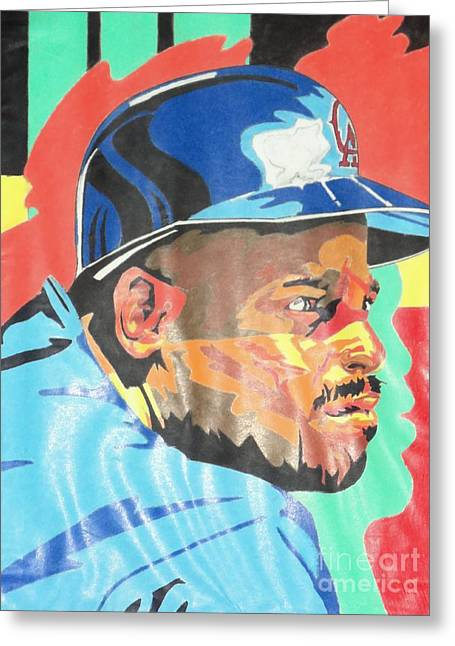 Baseball Pastels Greeting Cards - Chilli Davis Greeting Card by Damion Powell