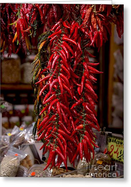 Strawberry Bunch Greeting Cards - Chilli Peppers Greeting Card by Svetlana Sewell
