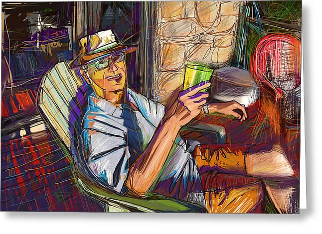 Sun Hat Digital Art Greeting Cards - Chillin Greeting Card by Russell Pierce