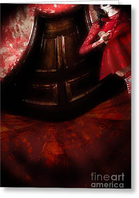 Night Terror Greeting Cards - Chilling female killer inside spooky horror house Greeting Card by Ryan Jorgensen
