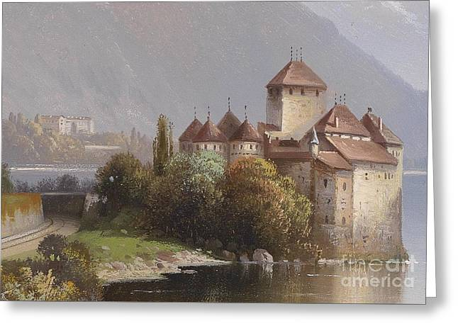 Chillon Greeting Cards - Chillon Castle Greeting Card by MotionAge Designs