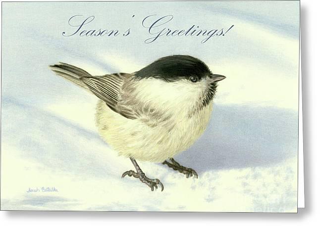 Chilly Chickadee- Season's Greetings Cards Greeting Card by Sarah Batalka