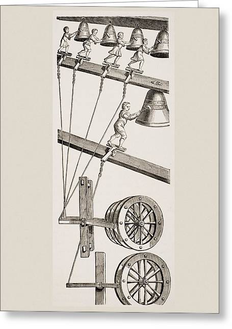 Mechanism Drawings Greeting Cards - Chimes Of The Clock Of St. Lambert In Greeting Card by Vintage Design Pics