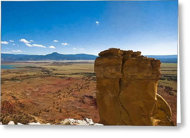 Chimney Rock  And Cerro Pedernal Greeting Card by Lou  Novick