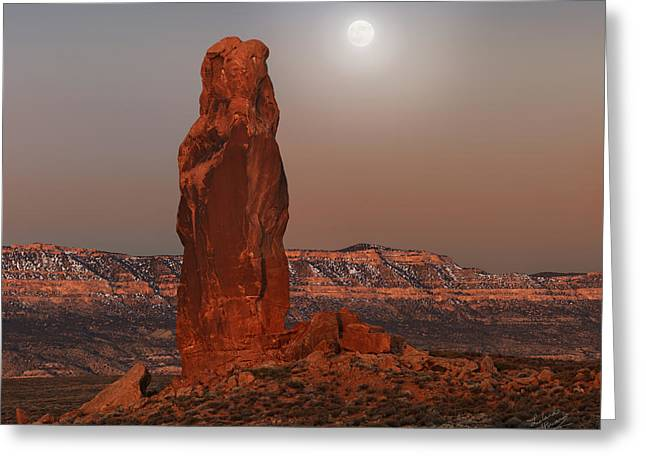 Chimney Rock Moon Greeting Card by Leland D Howard