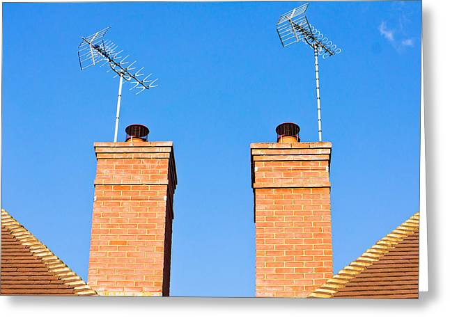 Tiling Greeting Cards - Chimneys Greeting Card by Tom Gowanlock
