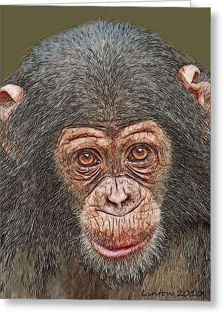 Chimp Portrait Greeting Card by Larry Linton