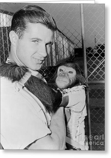 4th July Digital Greeting Cards - Chimpanzee Enos NASA Astronaut Greeting Card by R Muirhead Art