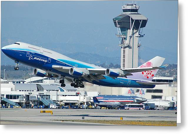 747 Greeting Cards - China Airlines Boeing 747 Dreamliner LAX Greeting Card by Brian Lockett