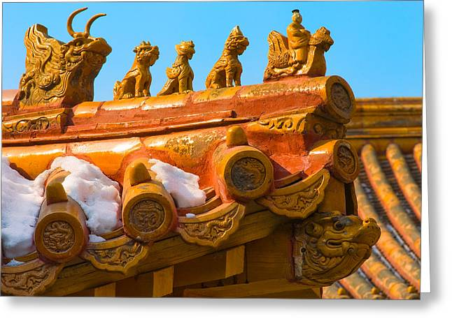 Rooftop Photographs Greeting Cards - China Forbidden City Roof Decoration Greeting Card by Sebastian Musial