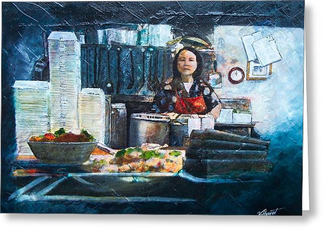 China Kitchen Greeting Card by Victoria Heryet