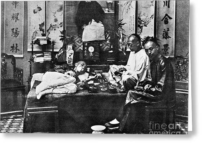 Smoker Greeting Cards - China: Opium Smokers Greeting Card by Granger