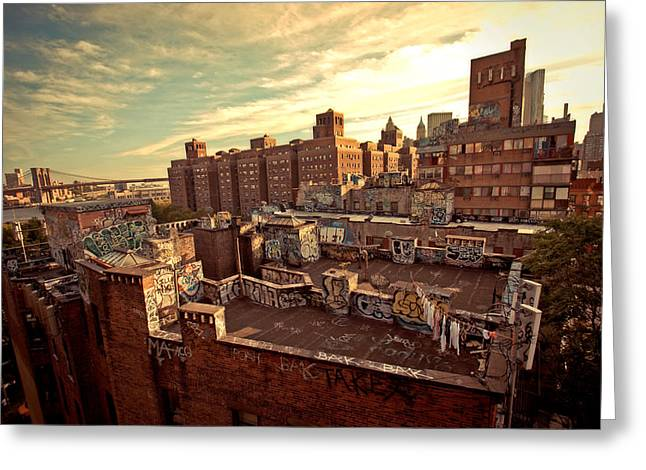 Nyc Architecture Greeting Cards - Chinatown Rooftop Graffiti and the Brooklyn Bridge - New York City Greeting Card by Vivienne Gucwa