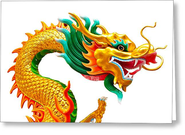 Asia Sculptures Greeting Cards - Chinese beautiful dragon isolated on white background Greeting Card by Nichapa Sornprakaysang