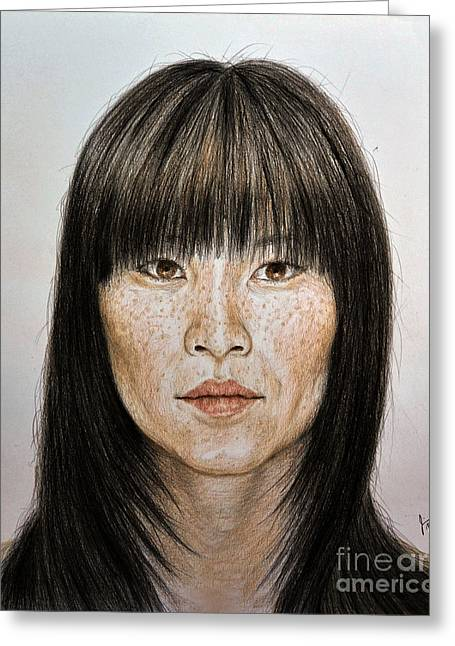 Hyper-realism Greeting Cards - Chinese Beauty with Bangs Greeting Card by jim Fitzpatrick