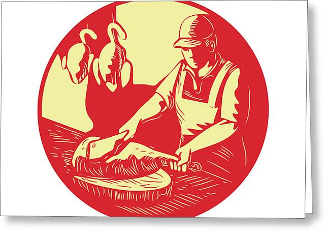 Chinese Cook Chop Meat Oval Circle Woodcut Greeting Card by Aloysius Patrimonio
