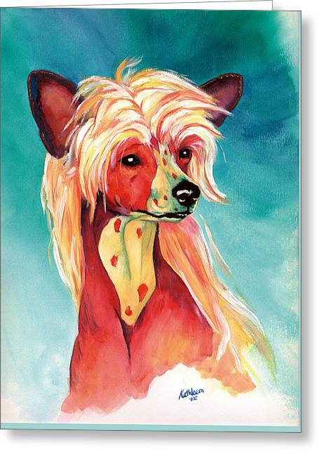 Chinese Crested Sunset Greeting Card by Kathleen Sepulveda