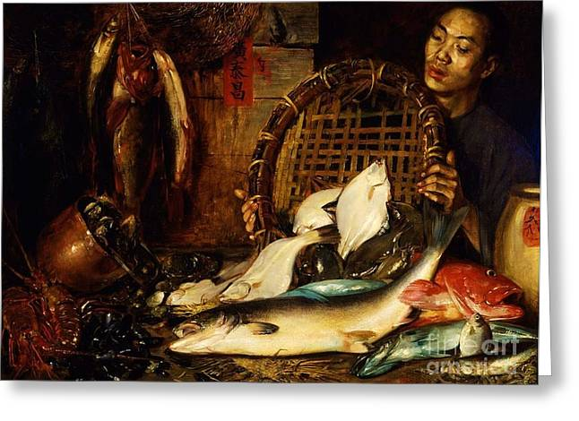 Fishmongers Greeting Cards - Chinese Fishmonger Greeting Card by Pg Reproductions