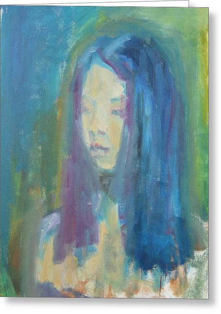 Lounge Paintings Greeting Cards - Chinese Girl Greeting Card by Magda Yamamoto