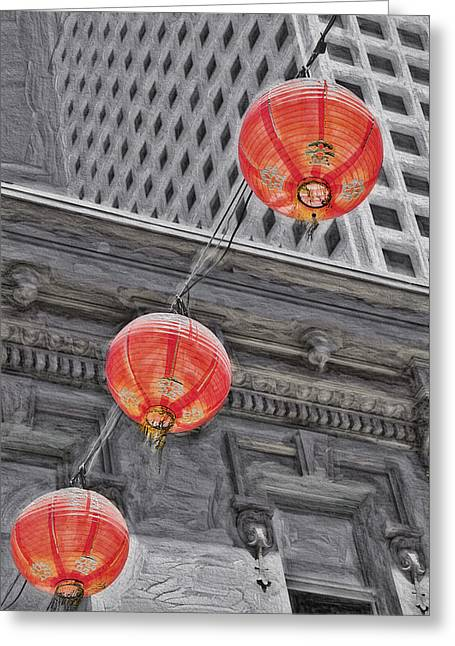 Downtown San Francisco Mixed Media Greeting Cards - Chinese Lanterns 3 - San Francisco Chinatown Greeting Card by Steve Ohlsen