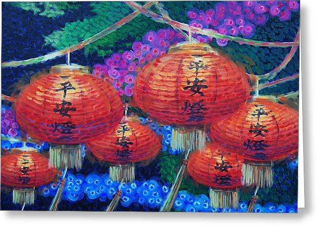Latern Greeting Cards - Chinese Lanterns Greeting Card by Tommy Midyette