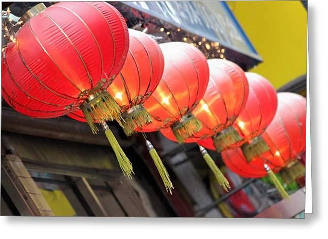 Candle Lit Greeting Cards - Chinese Lanterns Greeting Card by Jewels Blake Hamrick