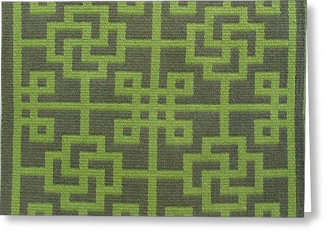 Graphic Tapestries - Textiles Greeting Cards - Chinese Lattice #8 Greeting Card by Judy Hilbish