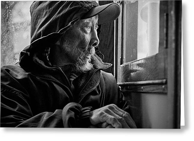 Monochrome Greeting Cards - Chinese Man Greeting Card by Dave Bowman