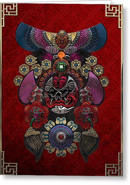 Chinese Masks - Large Masks Series - The Demon Greeting Card by Serge Averbukh