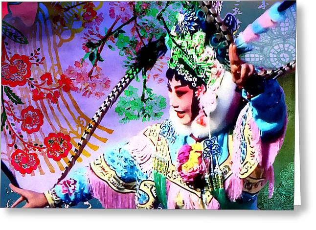 Chinese Opera  Greeting Card by Stacey Chiew