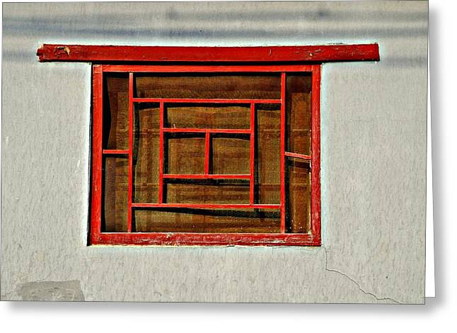 Hutong Greeting Cards - Chinese Window Greeting Card by Dean Harte