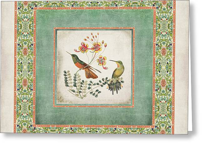 Graphic Mixed Media Greeting Cards - Chinoiserie Vintage Hummingbirds n Flowers 1 Greeting Card by Audrey Jeanne Roberts