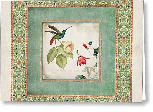 Border Mixed Media Greeting Cards - Chinoiserie Vintage Hummingbirds n Flowers 2 Greeting Card by Audrey Jeanne Roberts