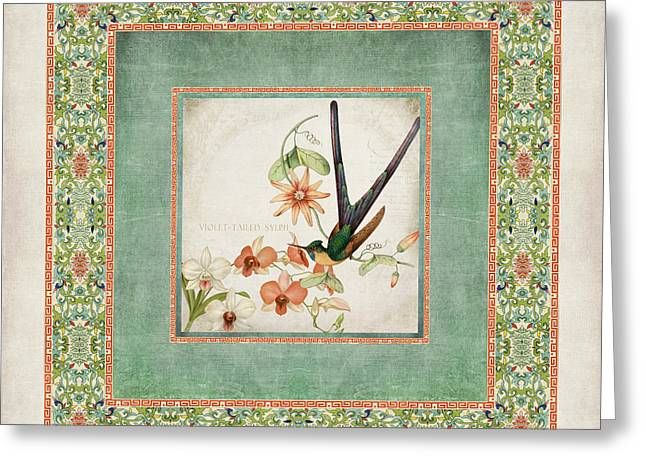 Border Mixed Media Greeting Cards - Chinoiserie Vintage Hummingbirds n Flowers 3 Greeting Card by Audrey Jeanne Roberts