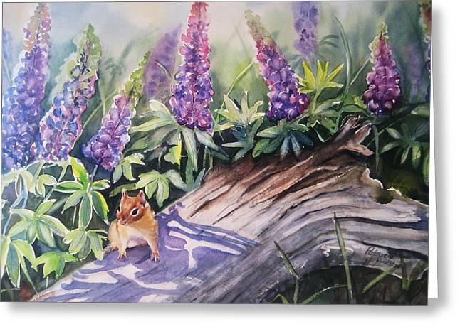Chipmunk On Log With Lupine Greeting Card by Patricia Pushaw