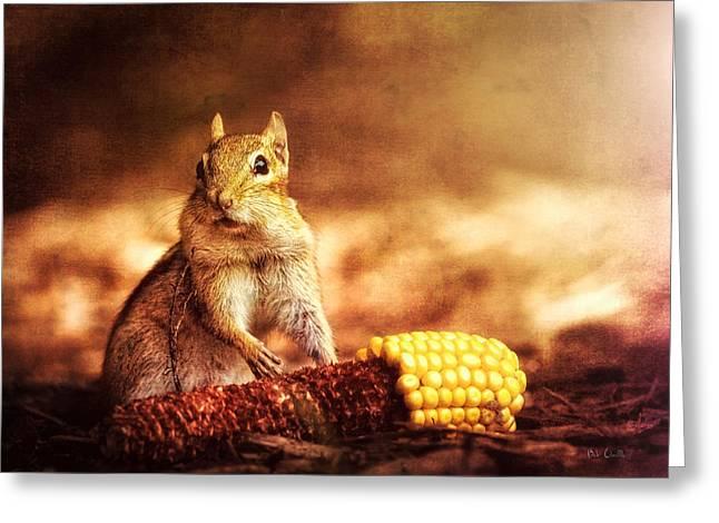 Chipmunk With Corn Greeting Card by Bob Orsillo