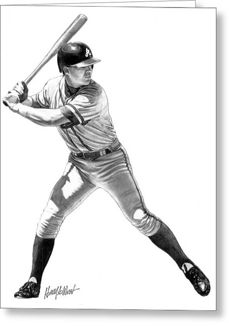 Chipper Jones Greeting Cards - Chipper Jones Greeting Card by Harry West