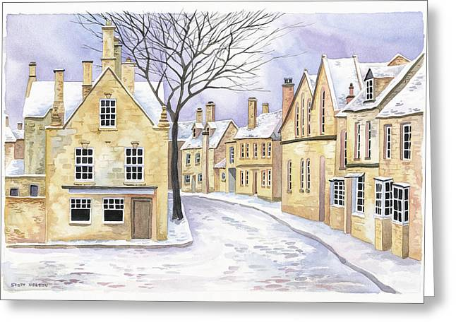 Best Sellers -  - Scott Nelson Greeting Cards - Chipping Campden in Snow Greeting Card by Scott Nelson