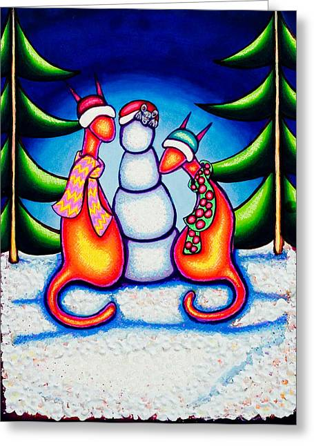 Kat Mixed Media Greeting Cards - Chirstmas Kats Greeting Card by Laurie Tietjen